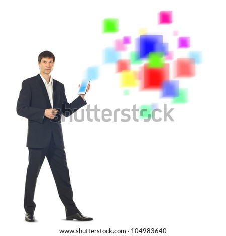 Young businessman using a Tablet Computer and a futuristic digital depiction of social media over white background