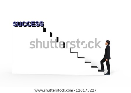 Young businessman walk up to white stair to success 3d text, Business concept