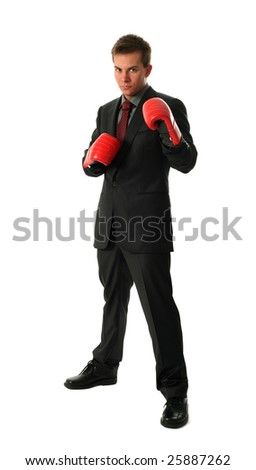 Young businessman wearing boxing-gloves isolated on white