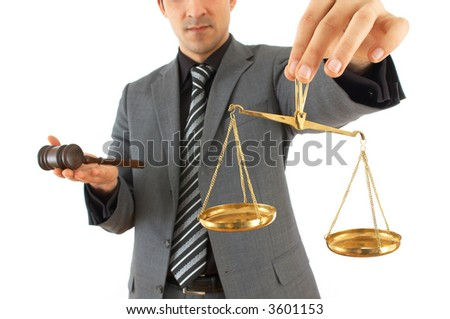 young businessman with a gavel and weight scale on white