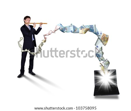 Young businessman with banknotes all around him