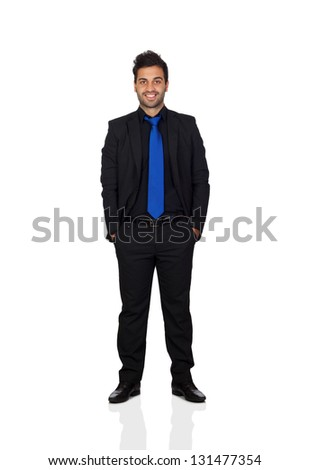 Young businessman with blue tie isolated on white background - stock photo