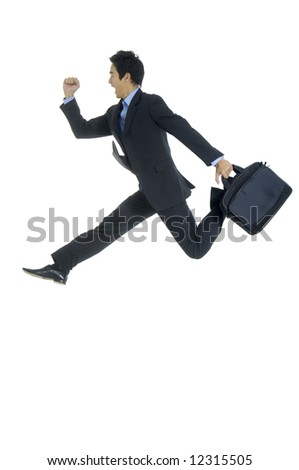 young businessman with briefcase running for success