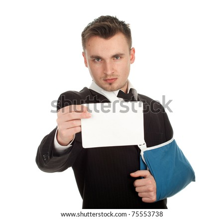 young businessman with broken hand wearing an arm braceand blank card, series