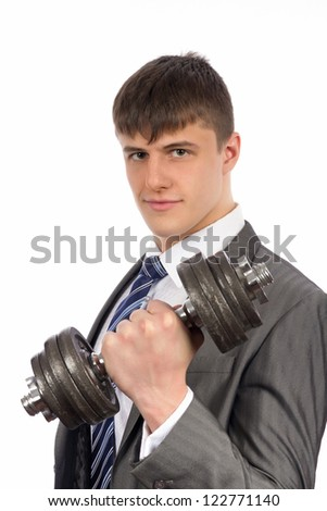 Young businessman with dumbbells. Isolated over white background