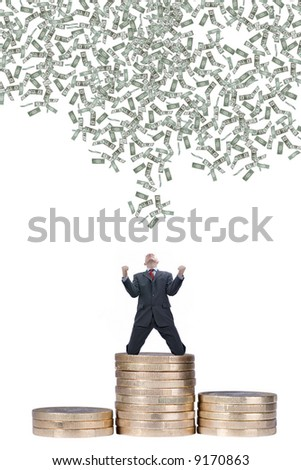 Young businessman with falling dollars