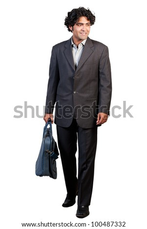 young businessman with hand bag isolated on white