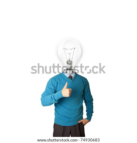 young businessman with lamp-head shows well done