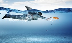 Young businessman with shark flipper swiming under water