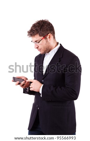Young Businessman with Smartphone on White