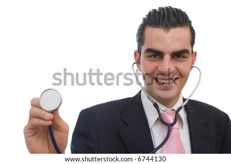 young businessman with stethoscope ready to analyse