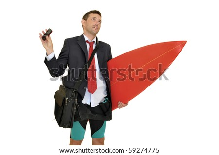 Young businessman with surf board receiving a call from the office
