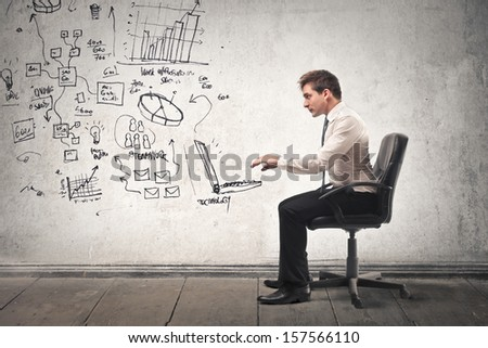 young businessman working in a virtual office #157566110