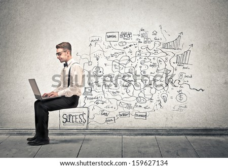 young businessman working on the computer #159627134