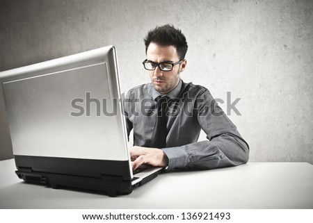 young businessman working with computer