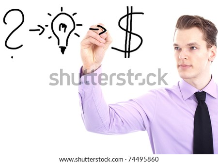 young businessman writing his strategy for success on a whiteboard, isolated on white background