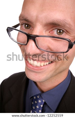 young businessmen portrait; distorted with ultra angular lens