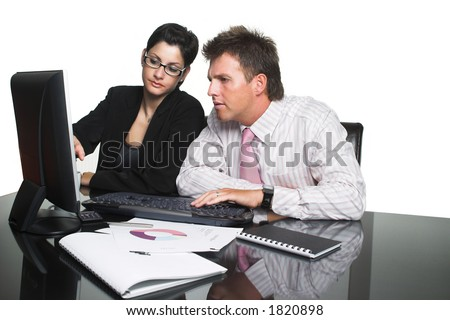 Young businesspeople are working in team. Image is isolated on white.
