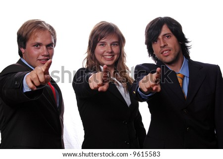 young businessteam pointing to front over white background