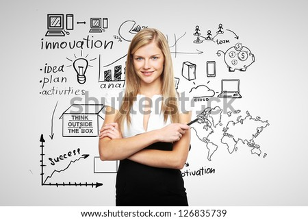 young businesswoman and business plan