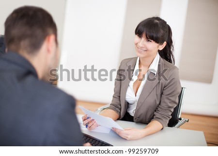 Young businesswoman at the hiring interview in the office