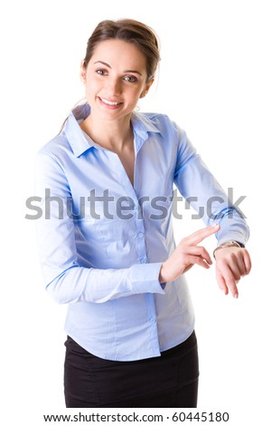 young businesswoman checks time on her wrist watch, time, late concept, studio shoot isolated on white