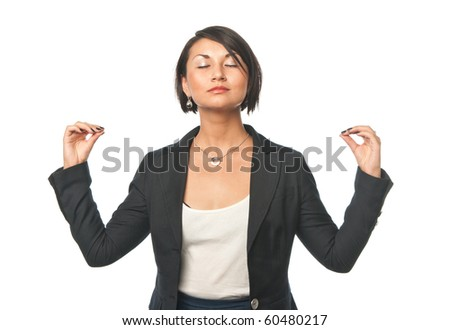 Young businesswoman doing office yoga