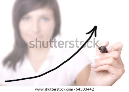 young businesswoman drawing graph / chart on white background.