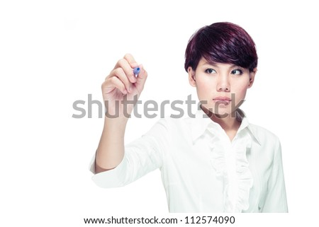 Young businesswoman drawing something, copy space for the designer - stock photo