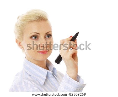 Young businesswoman drawing something, copyspace for the designer.
