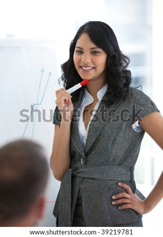 Young businesswoman explaining the stock market to her colleagues
