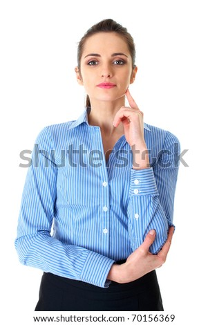 young businesswoman hold her finger at her chin, hard decision, studio shoot isolated on white
