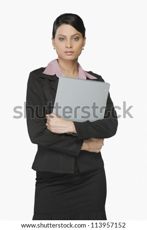 Young businesswoman holding a file