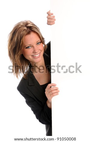 Young businesswoman holding blank sign isolated over white background