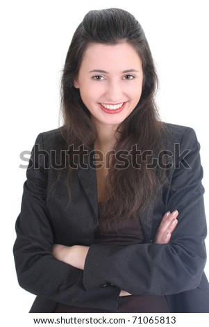 Young businesswoman in black suit smiling over white