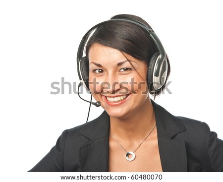 Young businesswoman in headset #60480070