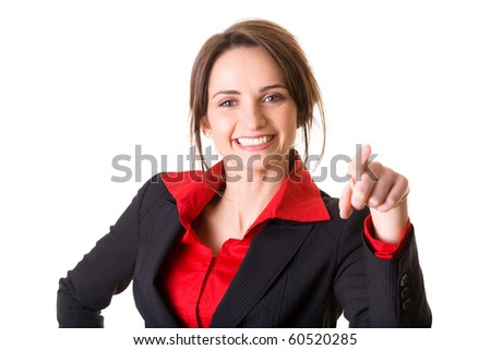 young businesswoman in red shirt and jacket points to something, studio shoot isolated on white