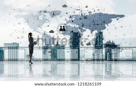 Young businesswoman in suit at balcony against morning cityscape background. 3d rendering