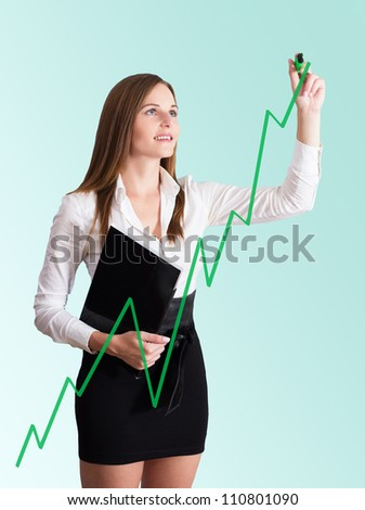 Young Businesswoman in white blouse and black skirt drawing a chart