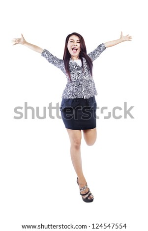 Young businesswoman is laughing, isolated over white