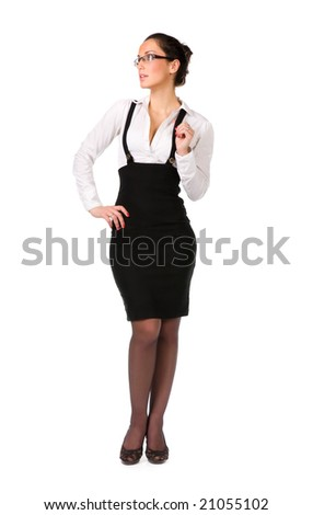 Young businesswoman. Isolated on white.