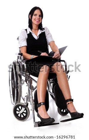 Young businesswoman on a wheelchair smiling with folder and pen