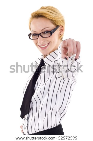 young businesswoman pointing to you isolated on white background