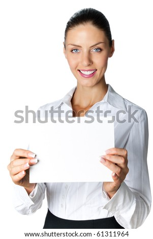 Young businesswoman showing signboard, isolated on white