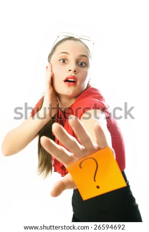 young businesswoman with a sticky note with a question mark on her hand