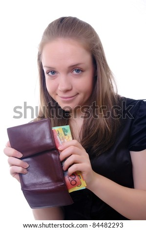 young businesswoman with australian money
