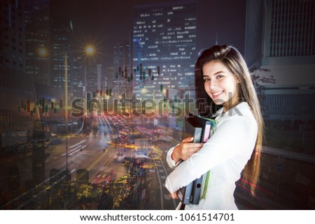Young businesswoman with business-finances background.