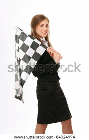 Young businesswoman with finish flag isolated
