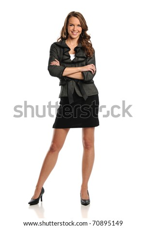 Young Businesswoman with her arms crossed and smiling isolated on a white background