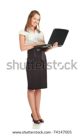 young businesswoman with laptop, isolated on white